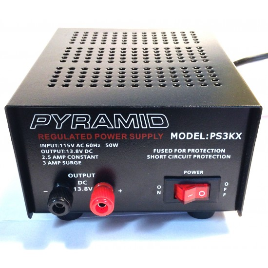PS3KX -Pyramid Power Supply - 2.5 A Constant, 3 A - 115VAC à 13.8VDC