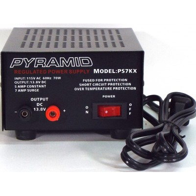 PS7KX - Pyramid Power Supply - 5 A Constant, 7 A Surge - 115VAC à 13.8VDC
