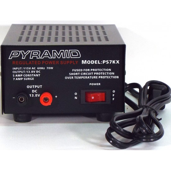 PS7KX - Pyramid Power Supply - 5 A Constant, 7 A Surge - 115VAC à 13.8VDC