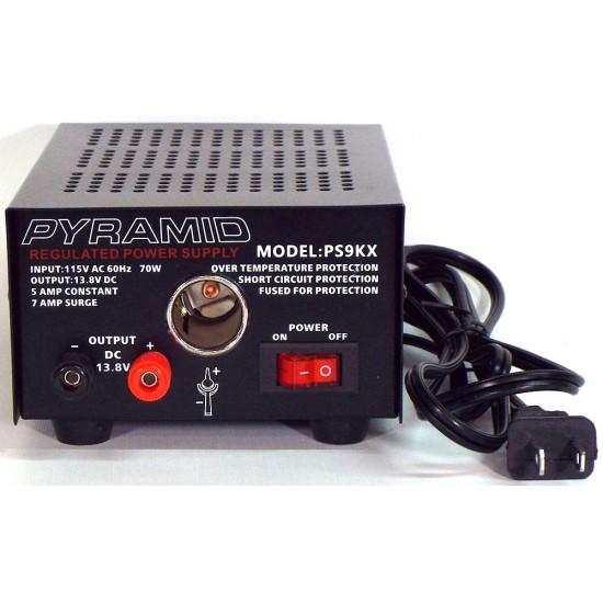 PS9KX- Pyramid Power Supply - Female Lighter plug - 5 amp Constant, 7 Amp Surge - 115VAC à 13.8VDC
