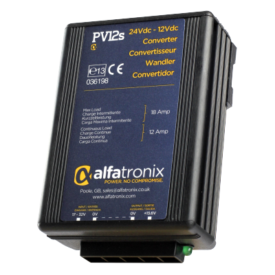 Convertisseur de Tension Alfatronix 24V to 12V. 12/18 amp. Surge