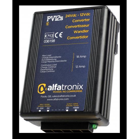 PV12S, Convertisseur de Tension Alfatronix 24V to 12V. 12/18 amp. Surge