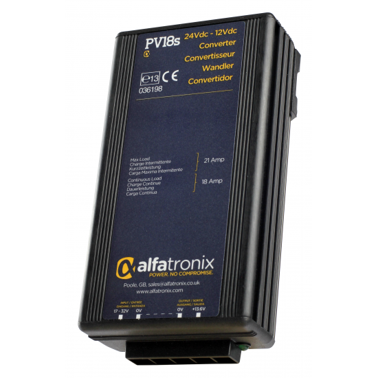 PV18S Convertisseur de Tension Alfatronix 24VDC à 12VDC. 18/21 amp. Surge