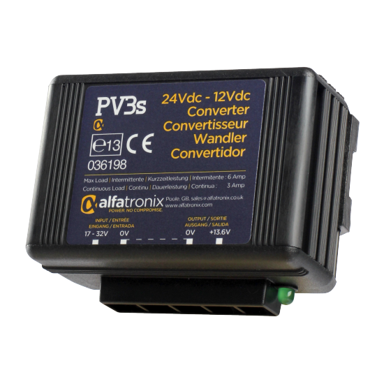 PV3S Convertisseur de Tension Alfatronix 24V à 12V. 3/6 amp. Surge