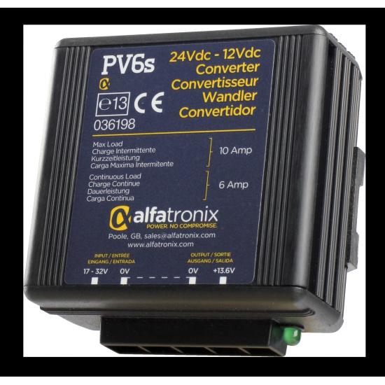 PV6S, Convertisseur de Tension Alfatronix 24V à 12V. 6/10 amp. Surge