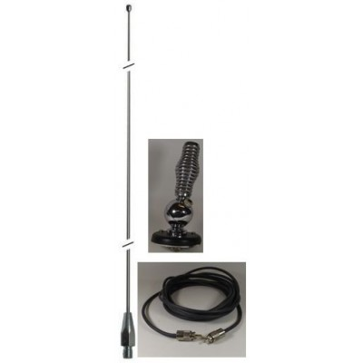 K102A, support d'Antenne Boule Heavy-Duty, Ressort,  Antenne 102'' Robuste an stainless et Cable Coaxial 18 pieds