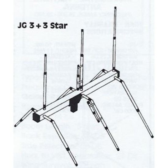 JG3+3Star, antenne Beam 3 éléments Jo-Gunn 0 meter, 27 mhz and more, gain de14.5 db, 8 pieds - JG3 + 3Star, 3-element Jo-Gunn antenna, gain of 14.5 db, 8 feet