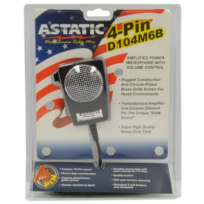 Astatic - 4-pin Mobile Microphone Amplifié , Fil très flexible