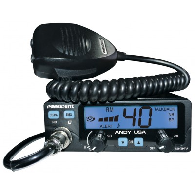 Andy, CB mobile President  40 canaux, 12/24 Volts, compact, avec alerte météo - Andy, President mobile CB 40 channels, 12/24 Volts, compact, with weather alert