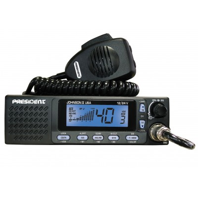 Johnson II, radio CB President 40 canaux 12/24 Volts, haut-parleur avant, VOX - Johnson II, President CB radio 40 channels 12/24 Volt, front speaker, VOX